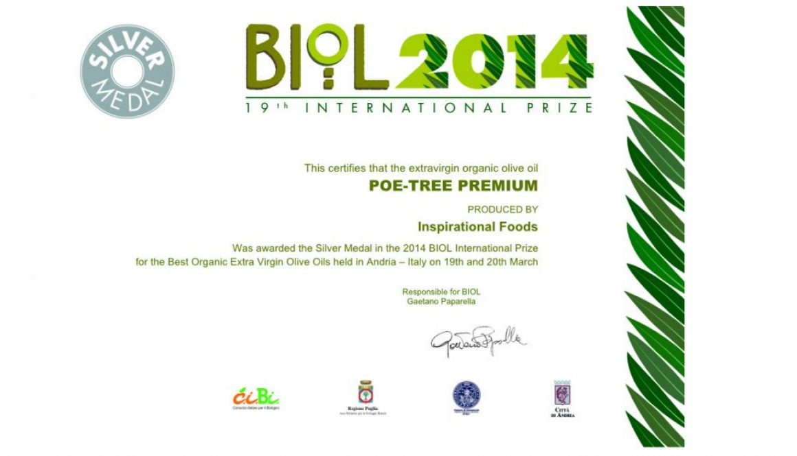 Poe-tree Premium Organic Extra Virgin Olive Oil Wins Silver Medal at the 2014 BIOL Prize